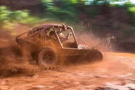 mud: Panoramic scene of mud splash in off-road racing Stock Photo