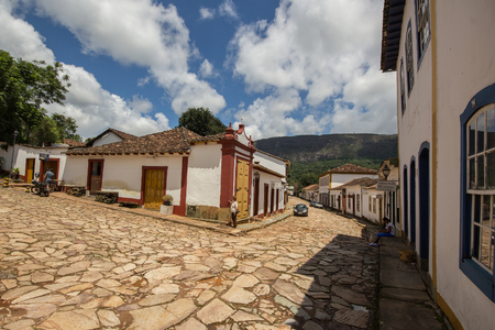 senhora: View of stone streets and architecture of Tiradentes - Minas Gerais - Brazil