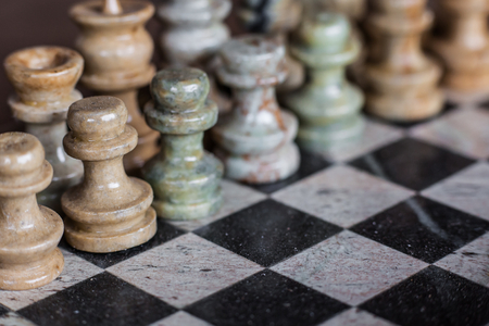 soapstone: Pieces and game board chess made of soapstone