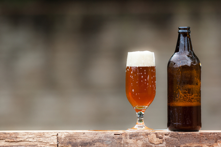 Glass of beer and bottle on wood table Stockfoto