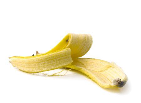 A banana skin. Isolated on White Stock Photo - 944803
