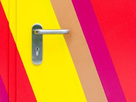 descriptive: Detail of  painted  door