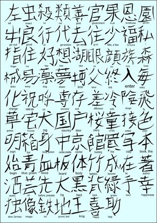 kanji: Japanese Kanji Characters  (set 1) Illustration