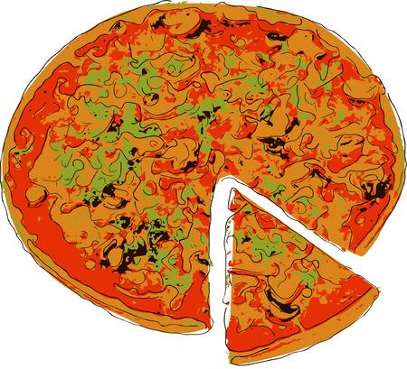 mozzarella cheese: Pizza with the cut off slice