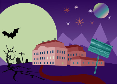 Frightful night at an old palace Vector