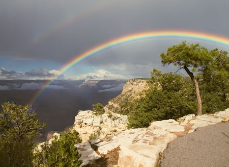 The rainbow over the Crand Canyon,Arizona