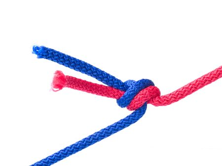 kink: Knot from  cords isolated on  white