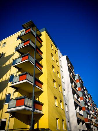 Modern multi colour  house against  blue sky Stock Photo - 2300077