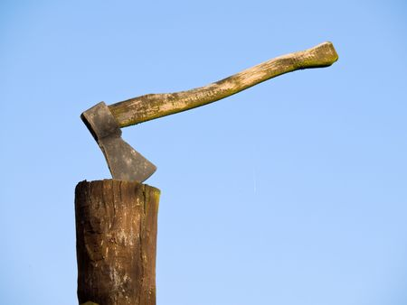 Axe and log Stock Photo - 2320743