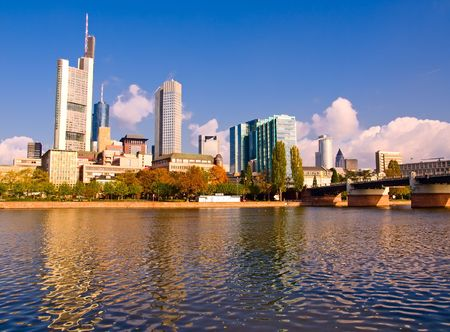 frankfurt stock exchange: The central business district of Frankfurt, Germany Stock Photo