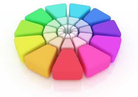 hape: Plastic Color Wheel on white background Stock Photo