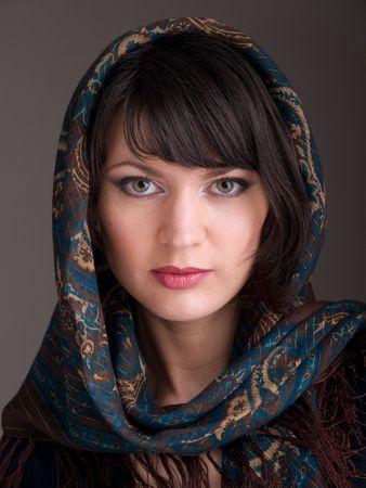 stodio: young woman in  kerchief, stodio portrait Stock Photo