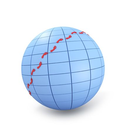 Abstract globe with red footprints photo