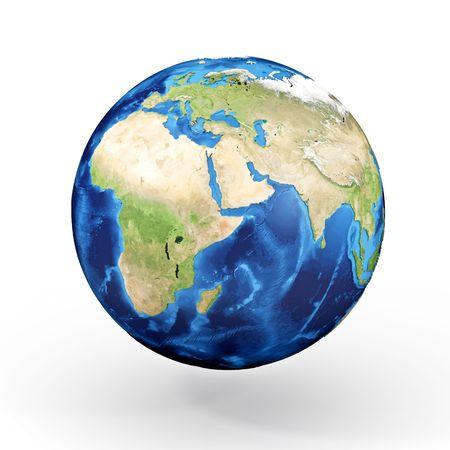 3d modelo de mundo, Europa, �frica y Asia los continentes Foto de archivo - 4737324