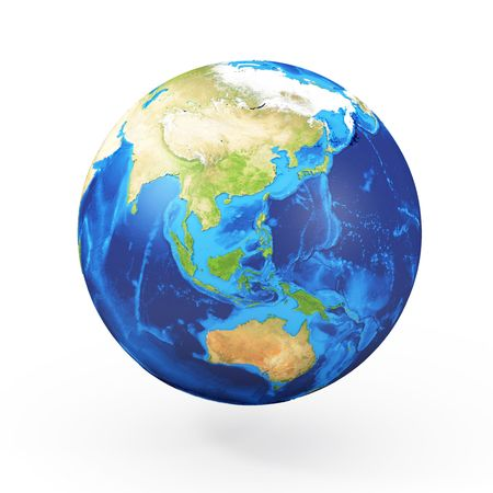 Abstract globe with green continents photo