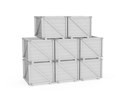3d Transport Crate on white photo