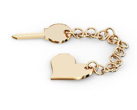 pendant: Gold key charm  pendant