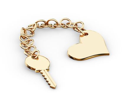 bosom: Gold key charm  pendant