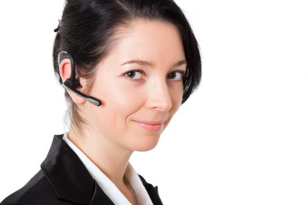 bluetooth: girl with  bluetooth headset isolated on white Stock Photo