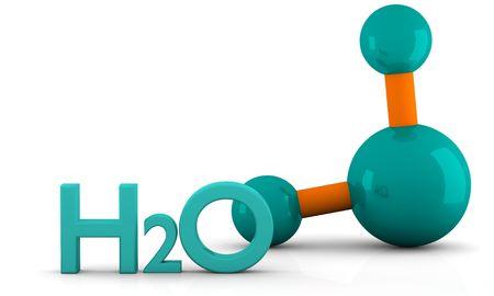 molecula de agua:  modelo 3D aislado de la mol�cula de agua sobre un fondo blanco