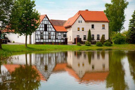 fachwerk: Fachwerk house  and reflection in pond