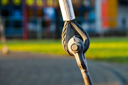 unbroken: fastening of two steel cables Stock Photo