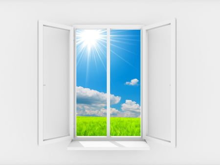 plastic window: Sky and sun in open window Stock Photo