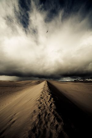 Storm in desert and helicopter in sky photo
