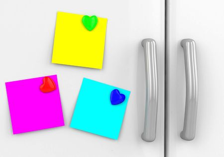 bulletinboard: Blank yellow note with  hearts on the fridge Stock Photo