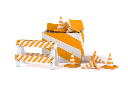 remake: Traffic cones isolated on white Stock Photo