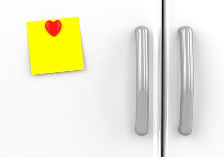refrigerator: Blank yellow note with  hearts on the fridge Stock Photo