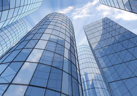 bakground: Blue Skyscrapers on sky bakground