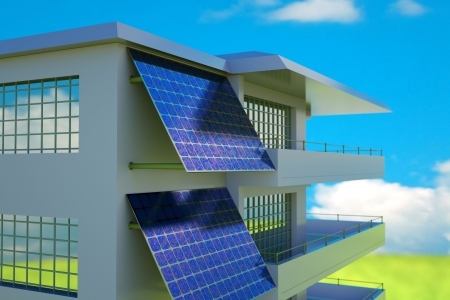 solarpanel: Solar cell  battery on house wall