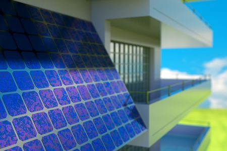 Solar cell  battery on house wall photo