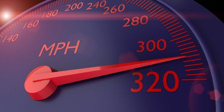 3d speedometer with red digits photo