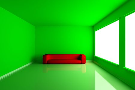 emty: Green emty room with red couch