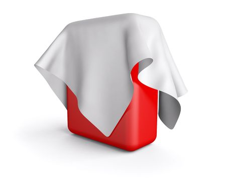 Red box covered with a cloth photo