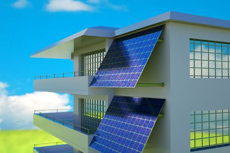 electric cell: photovoltaic module on house wall Stock Photo