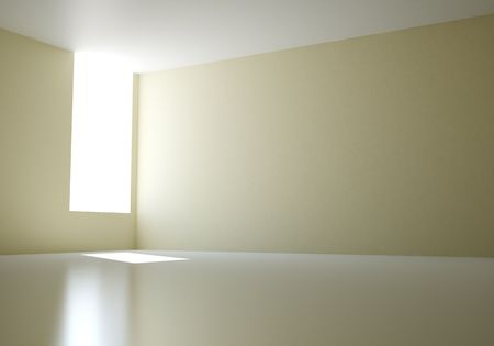 sunlight in empty 3d room photo
