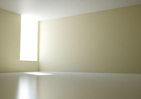 sunlight in empty 3d room photo