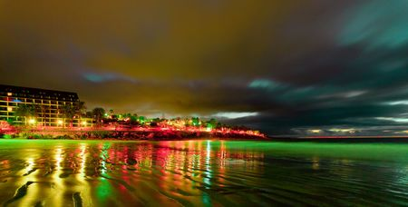 Night scene on sea beach photo