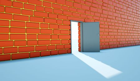unclosed: Open bright door opposite to red  wall