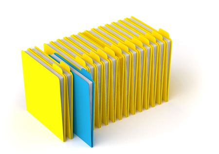 yellow folder with documents isolated on white Stock Photo - 7600955