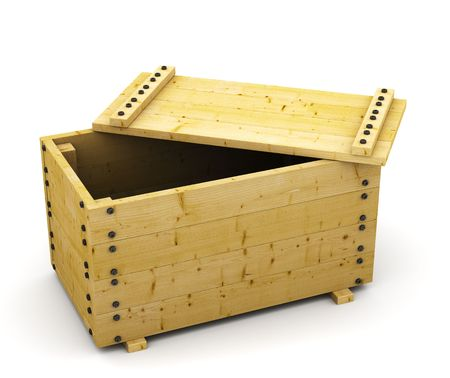 3D wooden box container on white Stock Photo - 7634259