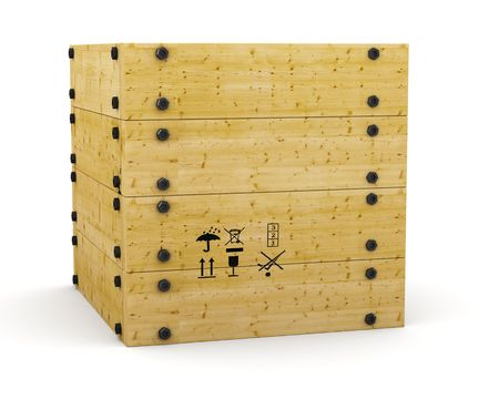 storage container: 3D wooden box container on white