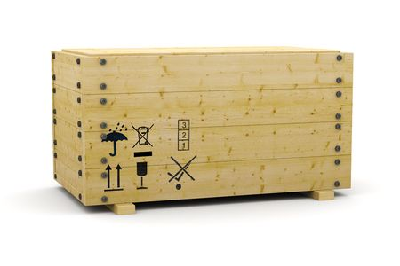 3D wooden box container on white photo