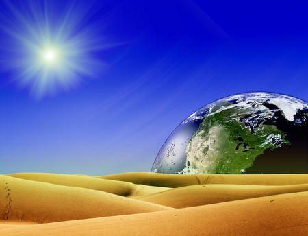 horison: Planet on horison yellow desert ans star light Stock Photo
