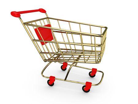 Gold empty Shoppingcart isolated on white Stock fotó