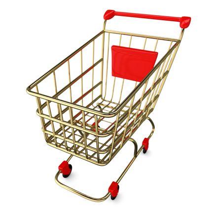 Gold empty Shoppingcart isolated on white photo