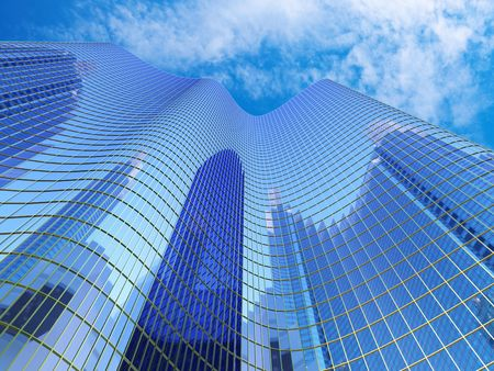 edificio cristal: Rascacielos con la reflexi�n de sku  Foto de archivo